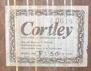 Cortley CF 150 Label - Made in Japan!
